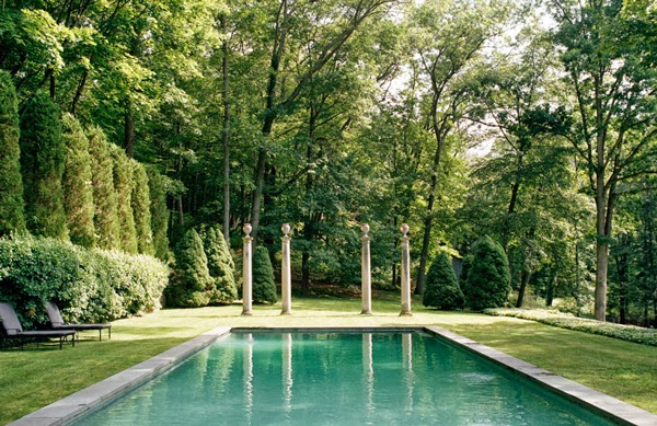 Maison K : Home Inspiration : Stephen Sills Westchester Home, pool columns