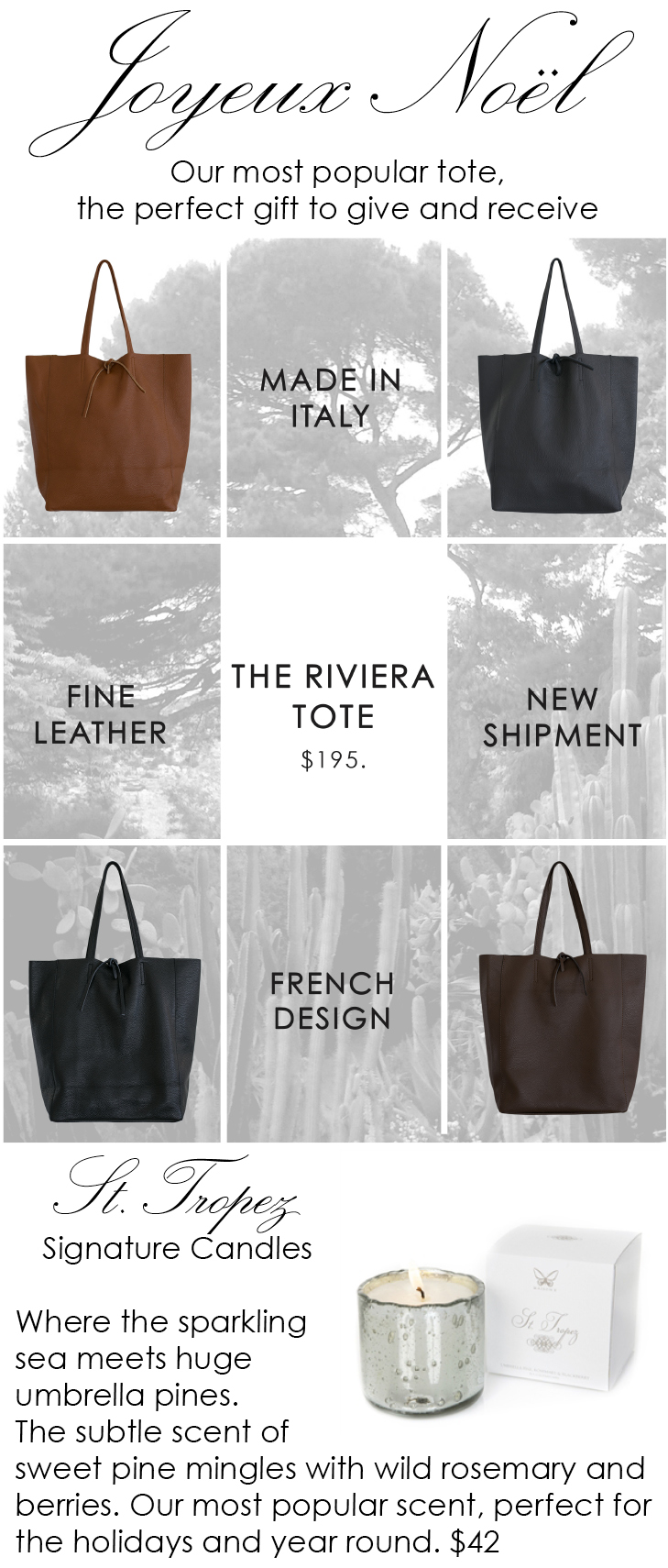 the riviera tote for Christmas at maison k