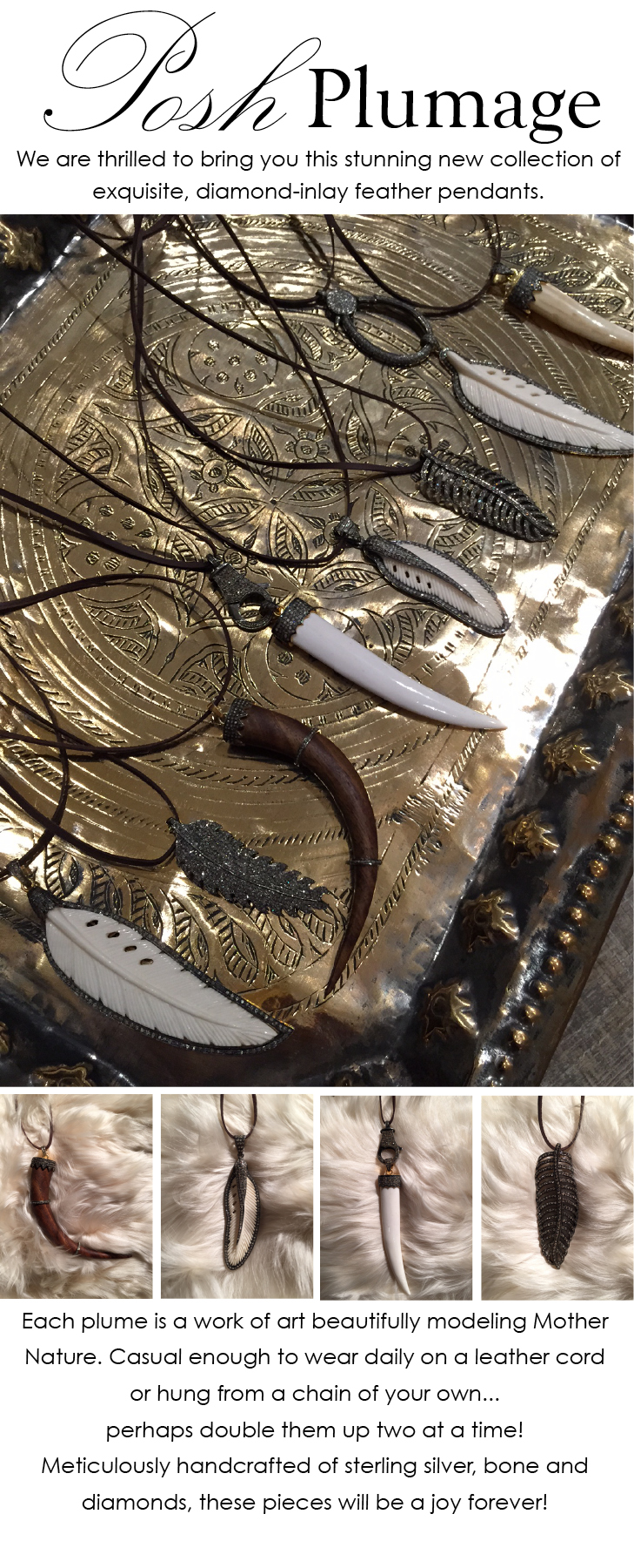 feather jewelery at maison k